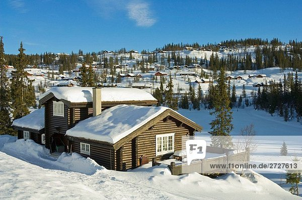 Holiday chalet in snowy landscape  Valdres  Norway