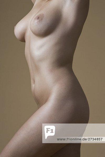 Seitenansicht einer nackten Frau Seitenansicht einer nackten Frau