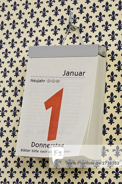 Ein deutscher Tageskalender am Neujahrstag