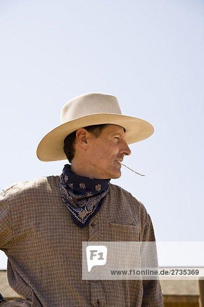 Profil eines Cowboys  der auf einem Stück Stroh kaut. Profil eines Cowboys, der auf einem Stück Stroh kaut.