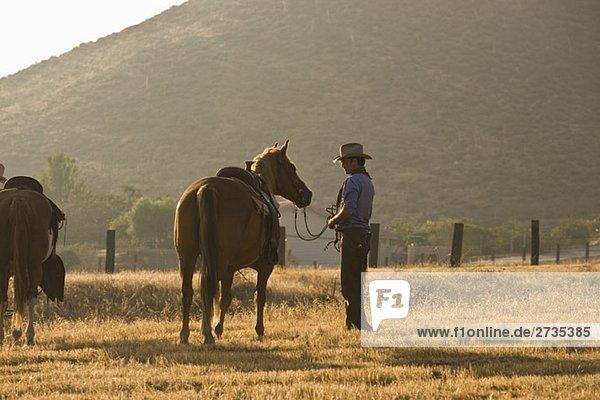 Ein Cowboy steht auf einem Feld mit Pferden. Ein Cowboy steht auf einem Feld mit Pferden.