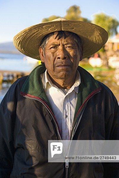 Porträt eines älterer Mannes  Janitzio Insel  Lake Patzcuaro  Patzcuaro  Bundesstaat Michoacán  Mexiko