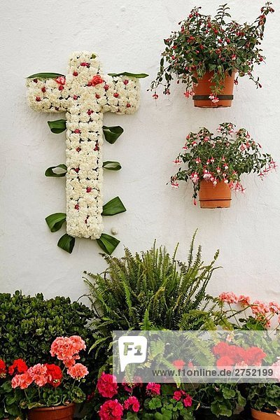 Ornate cross for May Days of the Cross fest,  Mijas. Pueblos Blancos (´white towns´),  Costa del Sol,  Malaga province,  Andalucia,  Spain