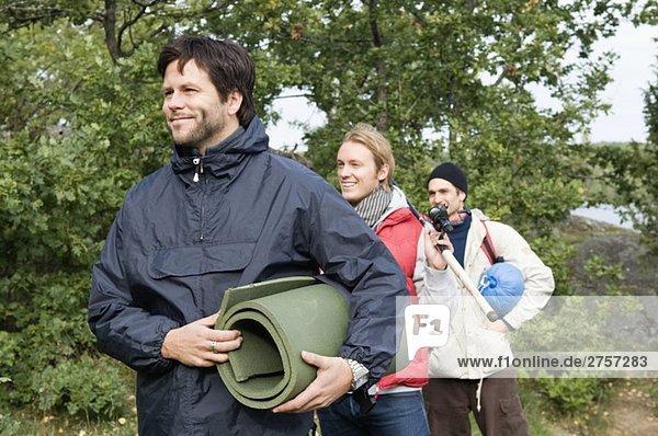 Three guys going camping