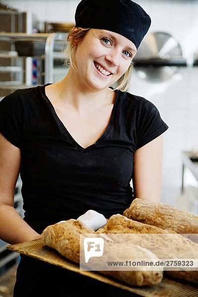 Portrait eines weiblichen Bäckers Schweden.