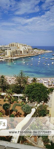 View over St. George's Bay  Malta  Mediterranean  Europe