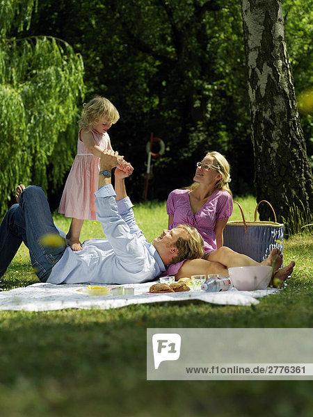 family doing picnic  full shot
