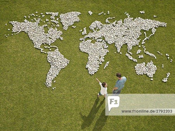 Sohn Ergebnis Vater Weltkarte gemacht Felsen