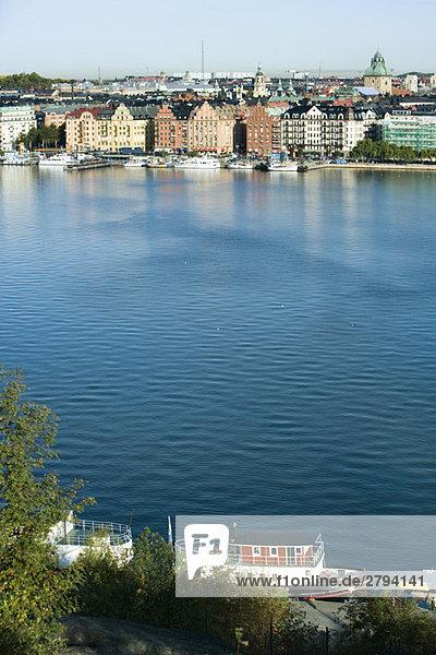 Schweden  Sodermanland  Stockholm  Anzeigen der waterfront