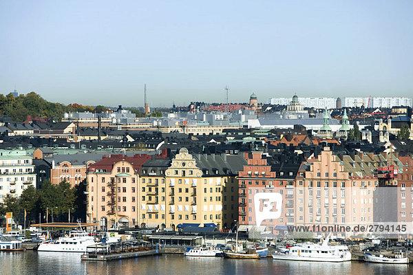 Schweden  Stockholm  Gamla Stan  Waterfront view