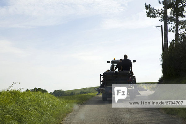 France,  Champagne-Ardenne,  Aube,  truck driving along country road,  rear view