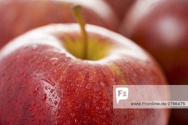 Roter Apfel mit Wassertropfen (Close Up)