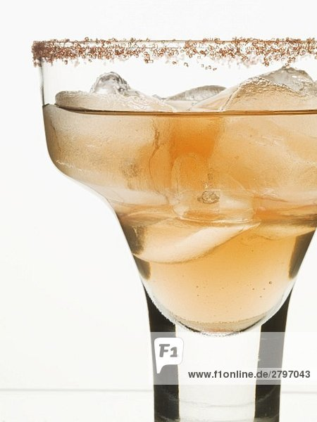 Cocktail in glass with sugared rim