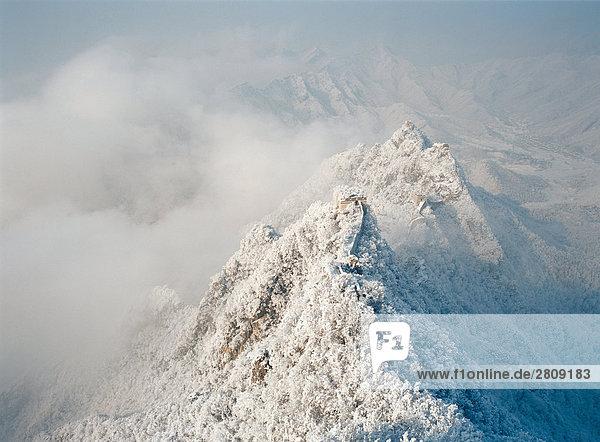 Vogelperspektive Schuss von Schnee-Szene von Jiankou Great Wall  Beijing