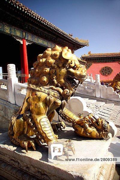 Schließen Sie Schuß Kupfer Löwen in verbotenen Stadt  Beijing