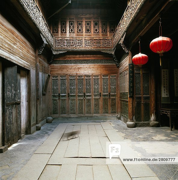 Holzschnitzerei Gebäude  Lu Dorf  Yi County  Anhwei