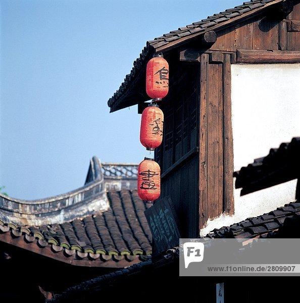 Tradition Gebäude Stadt chinesisch Laterne - Beleuchtungskörper Mensch
