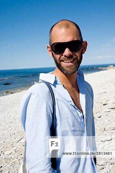 Portrait von einem Mann Faro Gotland Schweden.