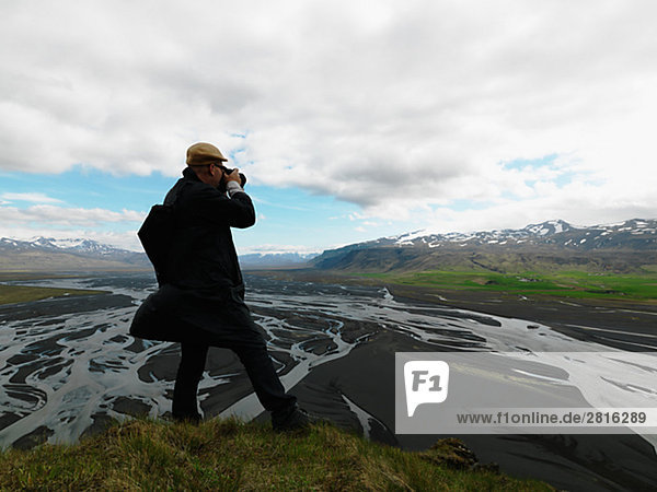 Ein Fotograf Aufnahmen Island.