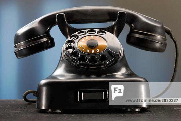 schwarzes Bakelit-Telefon  close-up
