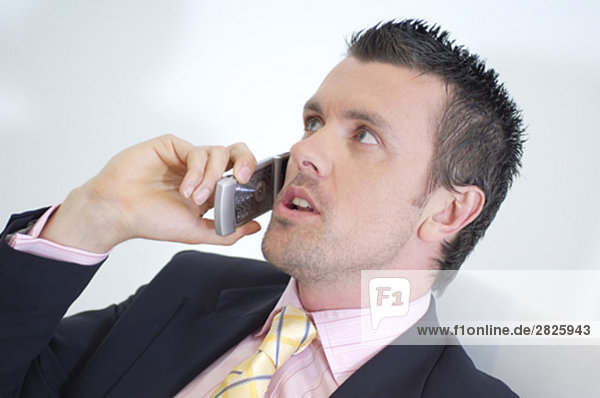 young businessman having conversation on cellphone