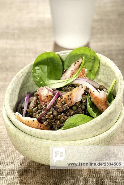 Schellfisch und Linse Salat Schellfisch und Linse Salat