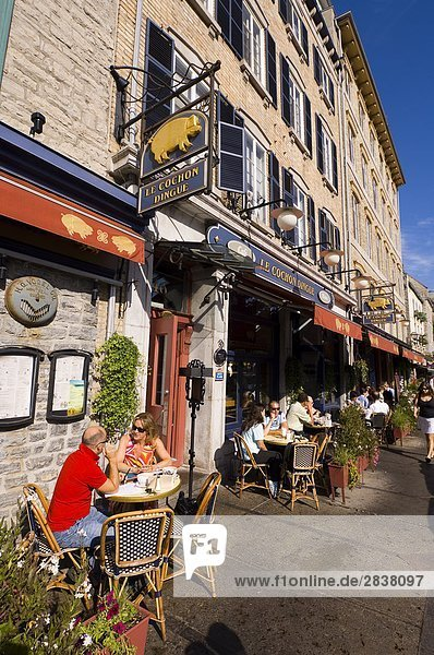 Freiluftrestaurant entlang der rue du Petite Chanplain  Quebec City  Quebec  Kanada.