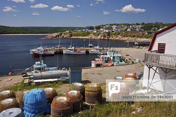 Boats docked in Neils Harbour seen from Neils Harbour Point  Cabot Trail  Cape Breton  Nova Scotia  Canada.