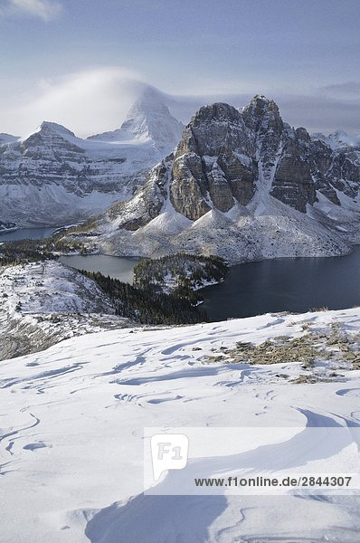 Die Nublet im Winter  Mount Assiniboine und Sunburst Peak  Mount Assiniboine Provincial Park  Rocky Mountains  British Columbia  Kanada