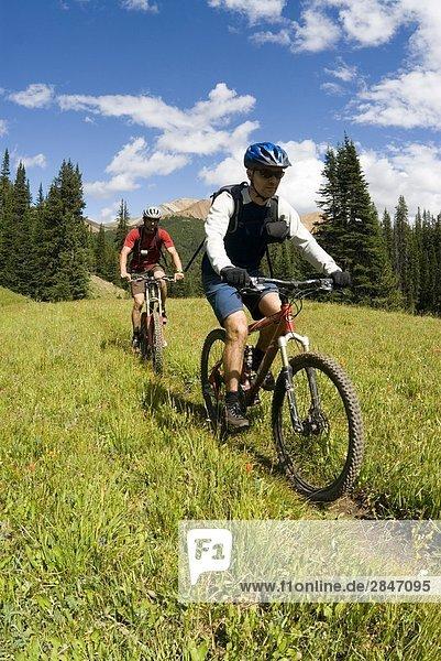 Moutain Biker Fahrt der Weg zum Deer Pass  südlichen Chilcotin Bergen  British Columbia  Kanada.