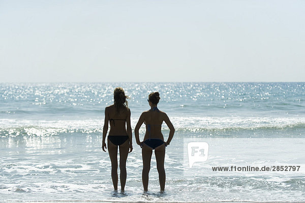 Teen girls standing side by side at the beach  looking at horizon