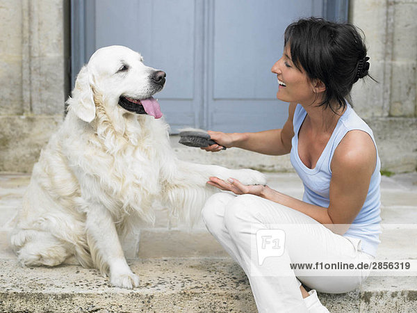 Frau bürstet ihren Hund