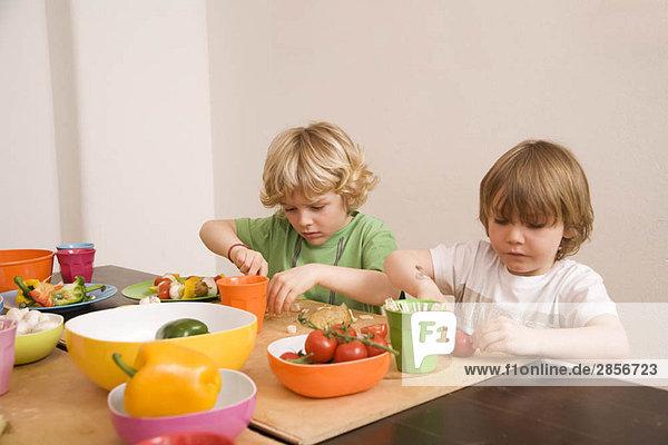 Zwei Jungen schneiden Gemüse