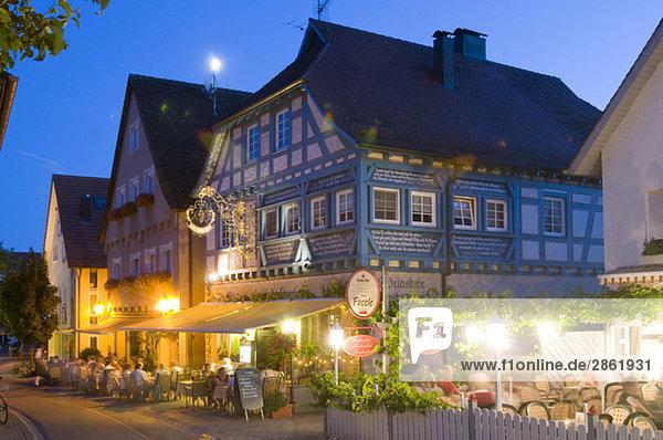 Deutschland,  Baden-Württemberg,  Hagnau,  Gästehaus bei Nacht