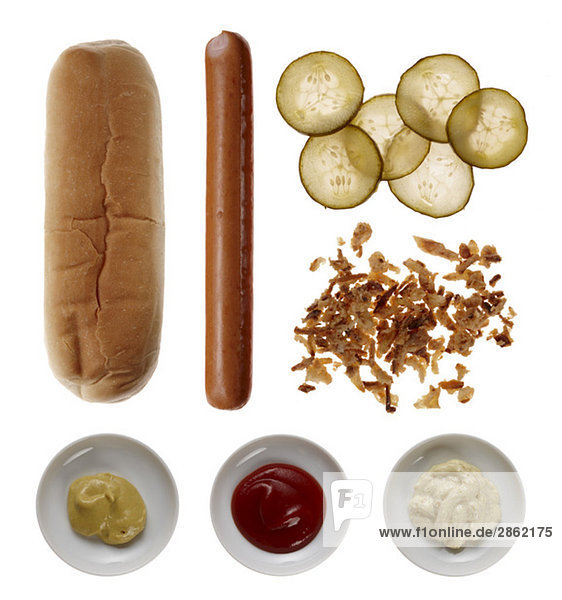 Zutaten für Hot Dog  erhöhte Ansicht