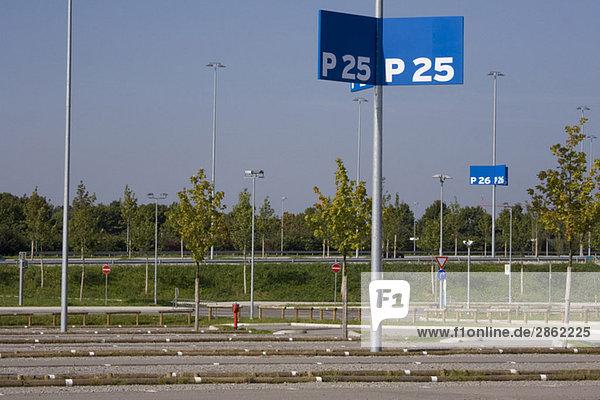 Deserted Car park  Information signs