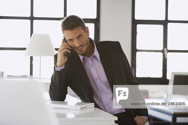 Geschäftsmann mit Handy  lächelnd  Portrait