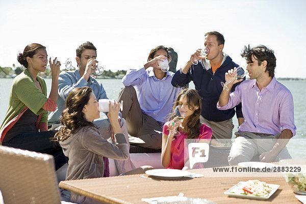 Gruppe von Freunden  die auf einer Party einen Drink genießen.