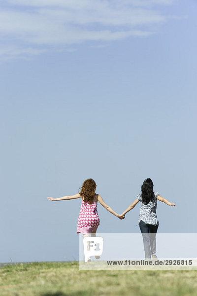 Zwei junge Frauen gehen Hand in Hand im Freien  Rückansicht