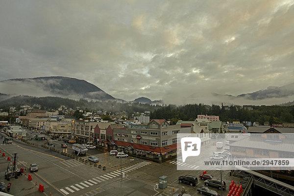 Downtown on a foggy day in fall  Juneau  Alaska
