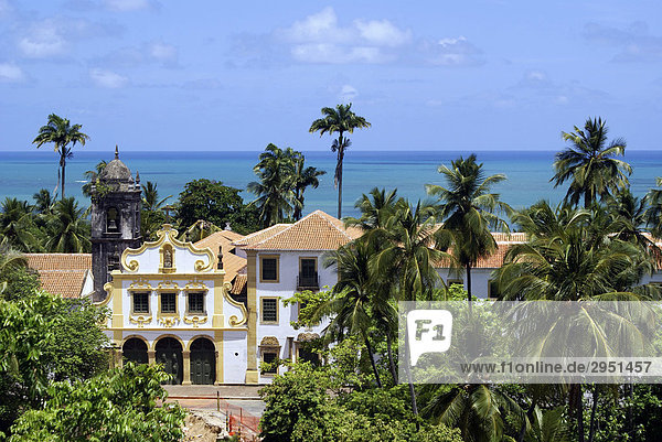 Baroque church and blue ocean  Olinda  Pernambuco  Brazil