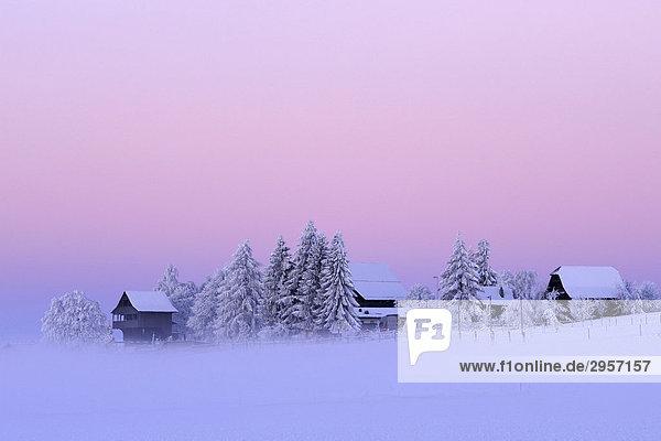 Morgendliche Winterstimmung mit altem Spycher im Vordergrund  Lindenberg  Aargau  Schweiz  Europa