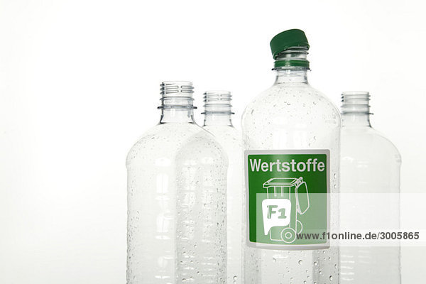 Four plastic bottles for recycling  Germany