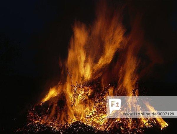 Closeup Flammen in ein Feuer
