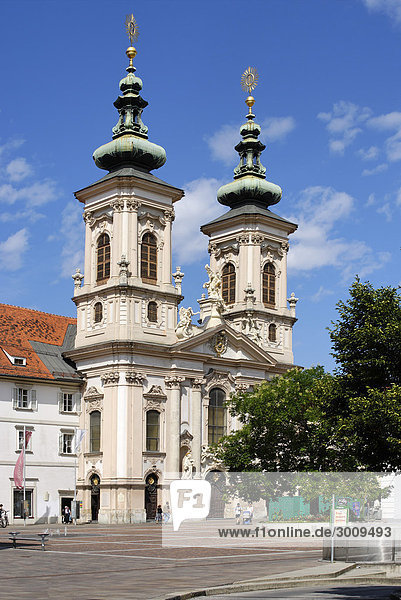 Pilgrimage church Maria Hilf Mary Help Graz capital of Styria Austria at the western side of the river Mur