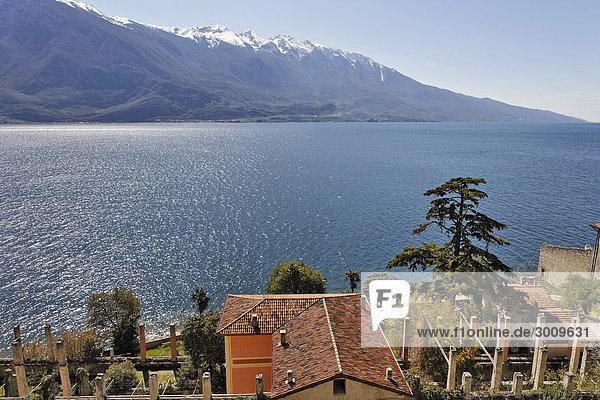 Villa und altes verfallenes Zitronengewächshaus Limonaie genannt  Limone sul Garda  Gardasee  Italien