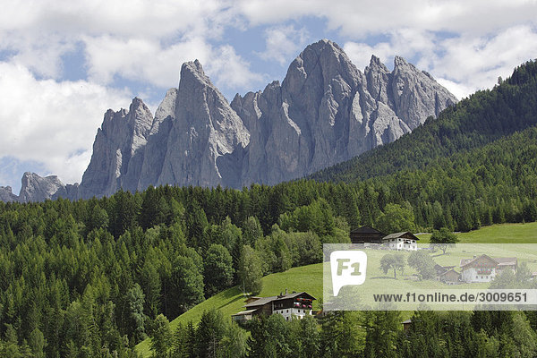 Bauernhöfe und Bergspitzen der Geisler Gruppe  Villnößtal  Südtirol  Italien