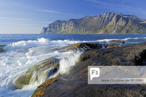 Waves at the rocky coastline  Austvagoy  Lofoten  Norway  Scandinavia  Europe