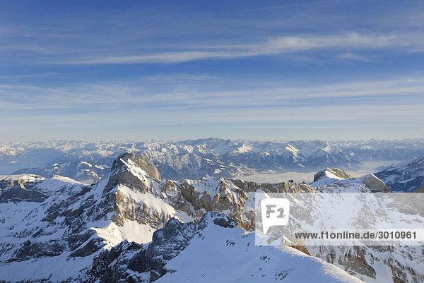 Das Alpsteinmassiv im Abendlicht - Schweiz  Europa.