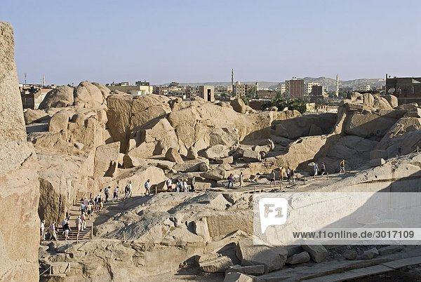 Rock quarries in Aswan  Egypt  high angle view